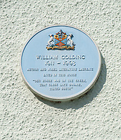 BNPS.co.uk (01202) 558833.<br /> Pic: CarterJonas/BNPS<br /> <br /> Pictured: Blue plaque marking Golding's time at the property. <br /> <br /> The former family home of Lord of the Flies author William Golding has gone on sale for £1m.<br /> <br /> The Grade II Listed cottage on a green in Marlborough is said to have inspired some of the Nobel Prize winning writer's work.<br /> <br /> His parents Alec, a teacher, and Mildred, a suffragette, bought the house and moved there in 1905, when Mr Golding obtained a job at the town's grammar school.<br /> <br /> Sir William was born in 1911 and he and his brother lived in the property and its location influenced his writing. He wrote of the property: 'Our house was on the green, that close like square, tilted south'.