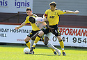 25/04/2009  Copyright Pic: James Stewart.sct_jspa01_partick_v_livingston.LIVINGSTON'S LIAM FOX AND CHRISS INNES CHALLENGE PARTICK'S LUCAS AKINS.James Stewart Photography 19 Carronlea Drive, Falkirk. FK2 8DN      Vat Reg No. 607 6932 25.Telephone      : +44 (0)1324 570291 .Mobile              : +44 (0)7721 416997.E-mail  :  jim@jspa.co.uk.If you require further information then contact Jim Stewart on any of the numbers above.........