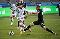 SAN JOSE, CA - SEPTEMBER 19: Marvin Loria #44 of the Portland Timbers and Jackson Yueill #14 of the San Jose Earthquakes during a game between Portland Timbers and San Jose Earthquakes at Earthquakes Stadium on September 19, 2020 in San Jose, California.