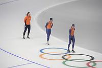 OLYMPIC GAMES: PYEONGCHANG: 17-02-2018, Gangneung Oval, Long Track, Training session, Gerard van Velde (coach), Kai Verbij (NED), Ronald Mulder (NED), ©photo Martin de Jong
