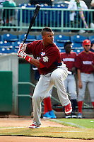 Auburn Doubledays Wander Ramos #26 during the home run derby before the NY-Penn League All-Star Game at Eastwood Field on August 14, 2012 in Niles, Ohio.  National League defeated the American League 8-1.  (Mike Janes/Four Seam Images)
