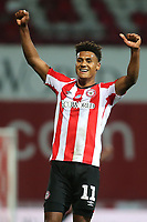 Brentford goalscorer, Ollie Watkins celebrates their victory at the final whistle during Brentford vs West Bromwich Albion, Sky Bet EFL Championship Football at Griffin Park on 26th June 2020