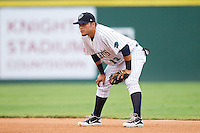 Charlotte Knights second baseman Carlos Sanchez (13) on defense against the Lehigh Valley IronPigs at Knights Stadium on August 6, 2013 in Fort Mill, South Carolina.  The IronPigs defeated the Knights 4-1.  (Brian Westerholt/Four Seam Images)