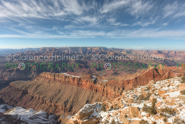 Winter view of the Colorado river in the Grand Canyon from Lipan Point