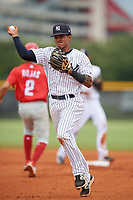 GCL Yankees East second baseman Miguel Marte (1) throws to first base during a Gulf Coast League game against the GCL Phillies West on July 26, 2019 at the New York Yankees Minor League Complex in Tampa, Florida.  (Mike Janes/Four Seam Images)