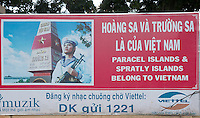Political Poster along the road referring to: Paracel islands and Spratly Islands belong to Vietnam