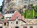 Closeup of a section of La Roque-Gageac, a medieval village on the Dordogne River in Périgord Noir.
