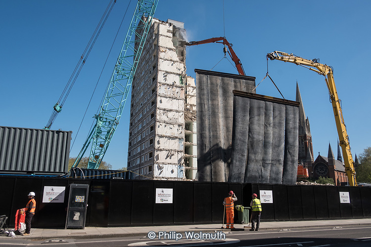 Mobile dust screens. Demolition of  Gloucester House, South Kilburn Estate, London Borough of Brent.