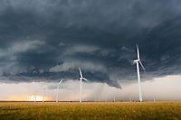 Supercell thunderstorm above a wind farm in Kansas, May 10, 2014