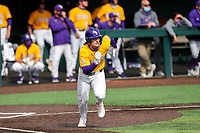 LSU Tigers right fielder Dylan Crews (3) in action against the Tennessee Volunteers on Robert M. Lindsay Field at Lindsey Nelson Stadium on March 28, 2021, in Knoxville, Tennessee. (Danny Parker/Four Seam Images)
