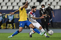 2nd July 2021; Nilton Santos Stadium, Rio de Janeiro, Brazil; Copa America, Brazil versus Chile; Danilo of Brazil blocks the cross from Eugenio Mena of Chile