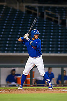 AZL Cubs catcher Kevin Zamudio (4) bats during a game against the AZL Brewers on August 6, 2017 at Sloan Park in Mesa, Arizona. AZL Cubs defeated the AZL Brewers 8-7. (Zachary Lucy/Four Seam Images)