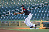 AZL Indians 1 first baseman Michael Cooper (39) prepares to catch a ball during an Arizona League game against the AZL White Sox at Goodyear Ballpark on June 20, 2018 in Goodyear, Arizona. AZL Indians 1 defeated AZL White Sox 8-7. (Zachary Lucy/Four Seam Images)