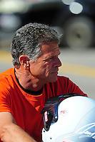 Oct. 28 2011; Las Vegas, NV, USA: NHRA pro stock motorcycle rider Jerry Savoie during qualifying for the Big O Tires Nationals at The Strip at Las Vegas Motor Speedway. Mandatory Credit: Mark J. Rebilas-US PRESSWIRE