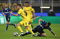 Football Soccer: UEFA Champions League -Group Stage- Group F Internazionale Milano vs Borussia Dortmund, Giuseppe Meazza stadium, October 23, 2019.<br /> Borussia Dortmund's Julian Weigl (l) in action with Inter's Lautaro Martinez (r) during the Uefa Champions League football match between Internazionale Milano and Borussia Dortmund at Giuseppe Meazza (San Siro) stadium, on October 23, 2019.<br /> UPDATE IMAGES PRESS/Isabella Bonotto
