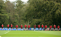 Pictured: Players warm up. Monday 02 October 2017<br />Re: Wales football training, ahead of their FIFA Word Cup 2018 qualifier against Georgia, Vale Resort, near Cardiff, Wales, UK.