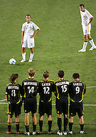 LA Galaxy's Peter Vagenas (8-L) and Chris Klein (7-R) ponder a free kick in front of a five Columbus Crew wall comprised (L to R) of Duncan Oughton (8), Chad Marshall (14), Eddie Gaven (12), Stefani Miglioranzi (15) and Jason Garey (9).  The Columbus Crew beat the LA Galaxy 3-2 at the Home Depot Center in Carson, California, Saturday, June 23, 2007.