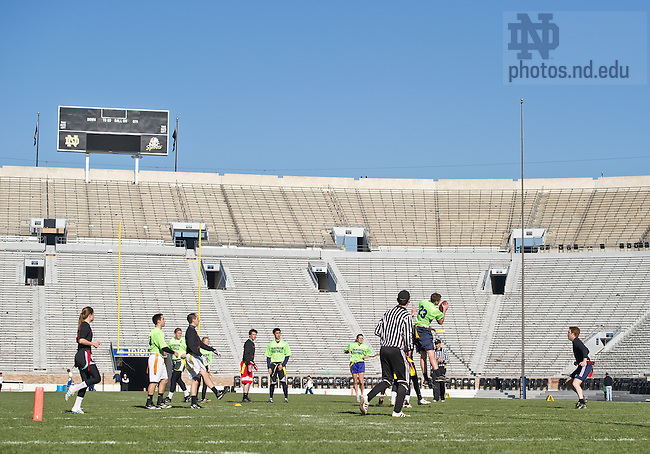 Nov. 18, 2012; CoEd interhall flag football championships in Notre Dame Stadium...Photo by Matt Cashore/University of Notre Dame