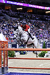 OMAHA, NEBRASKA - MAR 30: Laura Kraut rides Zeremonie during the FEI World Cup Jumping Final II at the CenturyLink Center on March 31, 2017 in Omaha, Nebraska. (Photo by Taylor Pence/Eclipse Sportswire/Getty Images)