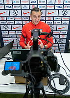SOLNA, SWEDEN - APRIL 10: Vlatko Andonovski of the USWNT talks to the media via Zoom after a game between Sweden and USWNT at Friends Arena on April 10, 2021 in Solna, Sweden.