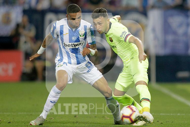 CD Leganes' Youssef En-Nesyri (l) and FC Barcelona's Munir El Haddadi during La Liga match. September 26,2018. (ALTERPHOTOS/Acero)
