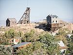 Silver Top Mine head frame, hoist house and grizzly, Historic mining park, Tonopah, Nev.