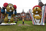 PARENTAL CONSENT GIVEN<br /> <br /> Pictured: Hugo Kendall-Heally, 8, stands in awe of Marmite and Méribel, the marmots on display at the top of Alton High Street.<br /> <br /> A council which infuriated residents of an affluent market town by replacing the traditional Christmas tree with a giant skiing marmot is set to provoke fury again - by installing TWO of them this year.<br /> <br /> The most controversial festive illumination of 2019 is poised to cause double trouble this time as the two 16 foot models are lit up by thousands of LEDs.<br /> <br /> Last December the installation of a single 'embarrassing' marmot in Alton, Hants sparked arguments, with many locals angry at the council's decision.   SEE OUR COPY FOR FULL DETAILS.<br /> <br /> © Ewan Galvin/Solent News & Photo Agency<br /> UK +44 (0) 2380 458800