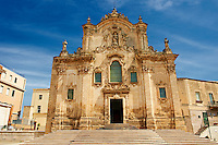 The Baroque facade of the  Church and convent of St Franis of Assisi, Matera, Italy
