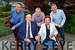 Des Giles celebrating his 80th birthday with his wife Peggy Giles from Castlemaine, and they also celebrate their 50th wedding anniversary in the Ballygarry House Hotel on Saturday.<br /> Seated: Des and Peggy Giles.<br /> Back l to r: Jason, Kevin and Alfie Giles
