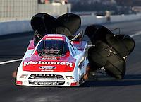 Nov 9, 2013; Pomona, CA, USA; NHRA funny car driver Bob Tasca III during qualifying for the Auto Club Finals at Auto Club Raceway at Pomona. Mandatory Credit: Mark J. Rebilas-