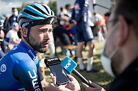 post-race interview for 3rd finisher Victor Campenaerts (BEL/NTT) <br /> <br /> the inaugural GP Vermarc 2020 is the very first pro cycling race in Belgium after the covid19 lockdown of Spring 2020 & which was only set up some weeks in advance to accommodate belgian teams by providing racing opportunities asap after the lockdown allowed for racing to restart (but still under strict quarantine / social distancing measures for the public, riders & press)<br /> <br /> Rotselaar (BEL), 5 july 2020<br /> ©kramon