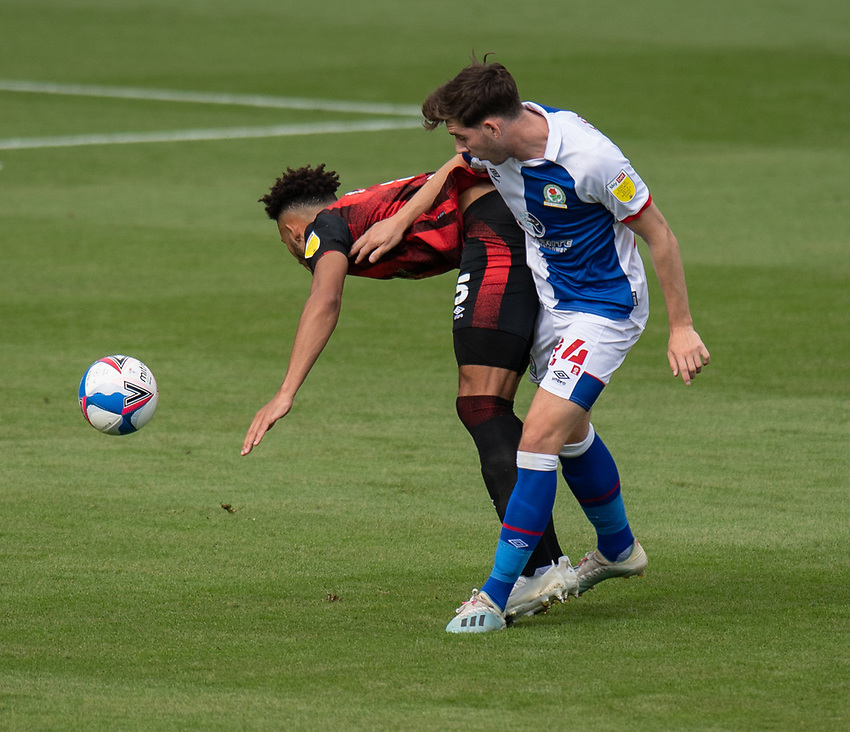 Blackburn Rovers' Joseph Rankin-Costello (right) battles for possession with Bournemouth's Lloyd Kelly (left) <br /> <br /> Photographer David Horton/CameraSport <br /> <br /> The EFL Sky Bet Championship - Bournemouth v Blackburn Rovers - Saturday September 12th 2020 - Vitality Stadium - Bournemouth<br /> <br /> World Copyright © 2020 CameraSport. All rights reserved. 43 Linden Ave. Countesthorpe. Leicester. England. LE8 5PG - Tel: +44 (0) 116 277 4147 - admin@camerasport.com - www.camerasport.com