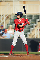 Nick Maton (6) of the Lakewood BlueClaws at bat against the Kannapolis Intimidators at Kannapolis Intimidators Stadium on July 7, 2018 in Kannapolis, North Carolina. The Intimidators defeated the BlueClaws 4-3 in 10 innings.  (Brian Westerholt/Four Seam Images)