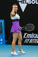 12th February 2021, Melbourne, Victoria, Australia; Simona Halep of Romania celebrates after winning a game during round 3 of the 2021 Australian Open on February 12 2020, at Melbourne Park in Melbourne, Australia.