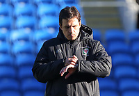 Manager Chris Coleman watches checks the time on his watch during the Wales Press Conference and Training Session at The Cardiff City Stadium, Wales, UK. Monday 13 November 2017