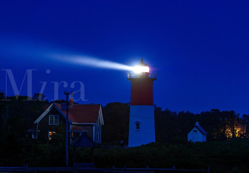 Nauset Lighthouse at night, Eastham, Cape Cod, Massachusetts, USA