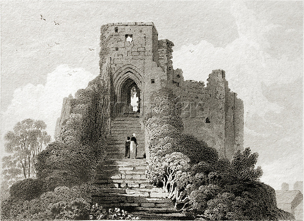 CARISBROOKE CASTLE on Isle of Wight in England on ancient engraving from 1824. Drawn by H. Gastineau. Engraved by W. Woolnoth. Published in London by Longman in May 1824.