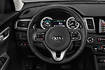Car pictures of steering wheel view of a 2018 KIA Niro LX PHEV 5 Door Hatchback