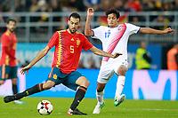 Spain's Sergio Busquets (l) and Costa Rica's Yeltsin Tejeda during international friendly match. November 11,2017.(ALTERPHOTOS/Acero) /NortePhoto.com