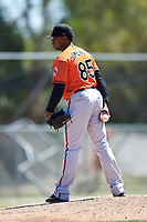 Baltimore Orioles pitcher Francisco Jimenez (85) looks in for the sign during a minor league Spring Training game against the Boston Red Sox on March 16, 2017 at the Buck O'Neil Baseball Complex in Sarasota, Florida.  (Mike Janes/Four Seam Images)