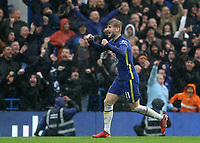 Timo Werner celebrates Chelsea third goal scored by Ben Chilwell during Chelsea vs Southampton, Premier League Football at Stamford Bridge on 2nd October 2021