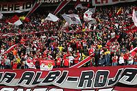 BOGOTÁ - COLOMBIA, 08-02-2020: Hinchas del Independiente Santa Fe.Independiente Santa Fe y Atlético Junior en partido por la fecha 4 de la Liga BetPlay I 2020 jugado en el estadio Nemesio Camacho El Campín de la ciudad de Bogotá. /Fans of Independiente Santa Fe. Independiente Santa Fe and Atletico Junior in match for the date 4 as part of BetPlay League I 2020 played at Nemesio Camacho El Campin  stadium in Bogota. Photo: VizzorImage / Felipe Caicedo / Staff