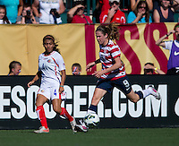 Heather O'Reilly, Gabriela Guillen.  The USWNT defeated Costa Rica, 8-0, during a friendly match at Sahlen's Stadium in Rochester, NY.