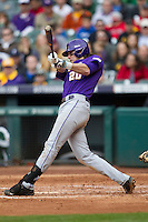 LSU Tigers third baseman Conner Hale (20) swings the bat during the NCAA baseball game against the Baylor Bears on March 7, 2015 in the Houston College Classic at Minute Maid Park in Houston, Texas. LSU defeated Baylor 2-0. (Andrew Woolley/Four Seam Images)