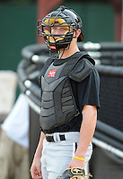 Catcher Bryce Mosier (7) of the Bristol White Sox, Appalachian League affiliate of the Chicago White Sox, prior to a game against the Elizabethton Twins on August 18, 2011, at Joe O'Brien Field in Elizabethton, Tennessee. Elizabethton defeated Bristol, 13-3. (Tom Priddy/Four Seam Images)