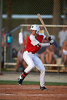 Nicholas Schnell (7) while playing for Team Indiana based out of Indianapolis, Indiana during the WWBA World Championship at the Roger Dean Complex on October 21, 2017 in Jupiter, Florida.  Nicholas Schnell is a outfielder from Indianapolis, Indiana who attends Roncalli High School.  (Mike Janes/Four Seam Images)