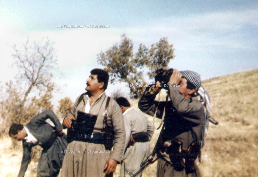 Iraq 1991.On march 7th, the first day of uprising, near Gela Zarda , Salah Mustafa with peshmergas,looking at the Iraqi fighter.Irak 1991.Le 7 mars, premier jour du soulevement,pres de Gela Zarda,  Salah Mustafa regardant dans le ciel les avions de combat irakiens