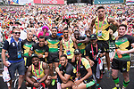 The Jamaican team interacts with fans during the HSBC Hong Kong Rugby Sevens 2017 on 08 April 2017 in Hong Kong Stadium, Hong Kong, China. Photo by Marcio Rodrigo Machado / Power Sport Images