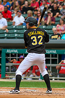Indianapolis Indians catcher Jacob Stallings (32) at bat during an International League game against the Buffalo Bisons on July 28, 2018 at Victory Field in Indianapolis, Indiana. Indianapolis defeated Buffalo 6-4. (Brad Krause/Four Seam Images)