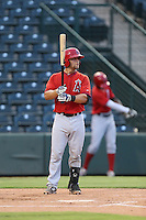 Izaak Silva (8) of the AZL Angels bats during a game against the AZL Giants at Tempe Diablo Stadium on July 6, 2015 in Tempe, Arizona. Angels defeated the Giants, 3-1. (Larry Goren/Four Seam Images)